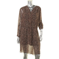 Two by Vince Camuto Womens Chiffon Animal Print Casual Dress