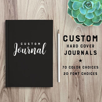 Custom journal, personalized notebook, hardcover journal, personal gift, diary, sketchbook, custom name book, blank or lined pages