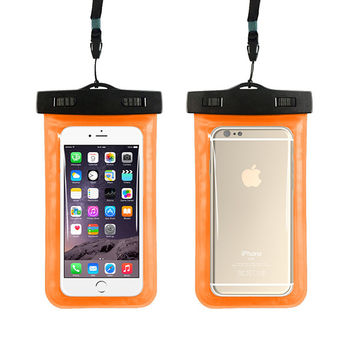 Orange Waterproof Phone Bag With Strap