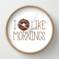 I Donut Like Mornings Wall Clock by Doucette Designs