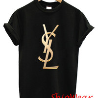 YSL Yves saint laurent Gold Logo Printed T Shirt Tee Unisex For Men and Women - Black and White Color (Y4)