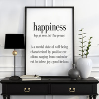 Definition of Happiness Funny wall art Typography Print Funny Poster Name Definition Art Minimalist Art Art Print Instant Download Printable