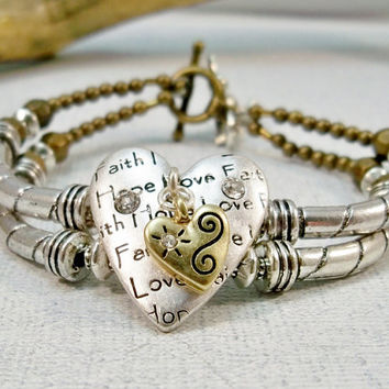 Silver Heart Charm Bracelet | Double Strand Bracelet | Faith, Hope and Love Bracelet | Two Strand Bracelet