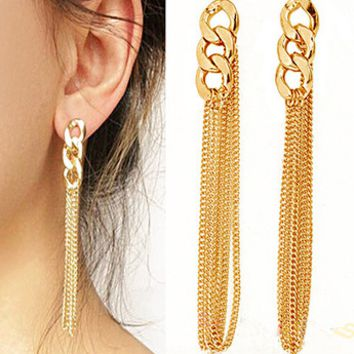 Golden Tassel Chain Earrings