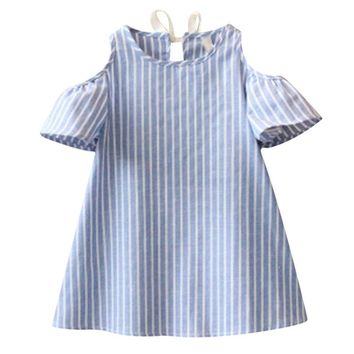 2-7Y Blue Striped Baby Girl Dress for Party Girls Summer Dresses Kids Clothes Off Shoulder Cotton Mini Dress Vestidos Mujer D25