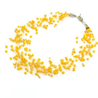 Yellow Necklace. Bridesmaid Necklace. Wedding Necklace. Beadwork.  Multistrand Necklace.