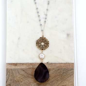 Sun & Stone Necklace, Blue