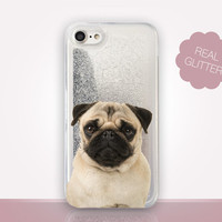 Pug Glitter Phone Case - Transparent Case - Clear Case - Transparent iPhone 7 - Clear iPhone 7 Plus - Gel Case - iPhone 6/6S