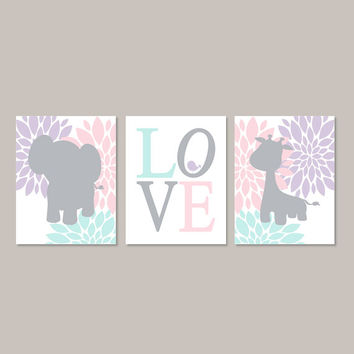 Elephant Nursery Decor Girl Nursery Art Jungle Animals Nursery Giraffe Floral Nursery Art Pink Gray Love Bird Set Of 3 Prints Or Canvas