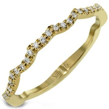 Simon G. Yellow Gold Curved Prong Set Diamond Wedding Ring