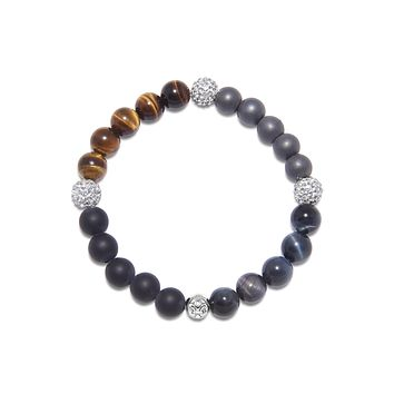 Men's Wristband with Matte Onyx, Hematite and Tiger Eye