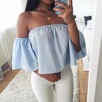 Bralette Comfortable Hot Women's Fashion Short Sleeve Batwing Sleeve Tops Sexy Crop Top Bra [11491355156]