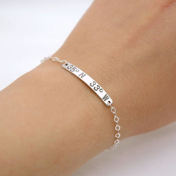 Personalized Hand Stamped Custom Latitude and Longitude Coordinates Bracelet - Sterling Silver ID Bar bracelet - Long Distance Relationship