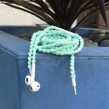 Mint Julep - Tangle Free Earbuds - Wrapped Headphones - Your Choice of Headphones