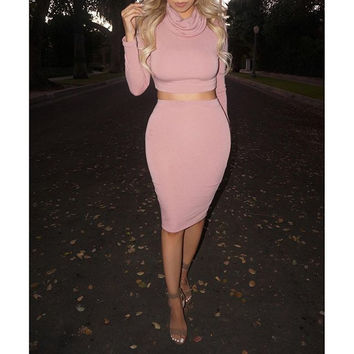 Pink Long Sleeve Top and Midi Skirt