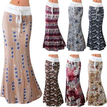 Women Summer Long Flower Skirt 2018 Faldas Largas Knit Pencil Skirt Womens Jupe Longue Bohemian Saia Longa Long Skirt