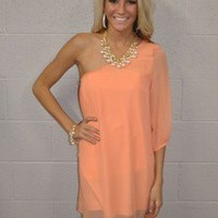 One Shoulder Tropical Shore Dress Peach - Modern Vintage Boutique