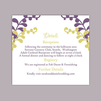 DIY Wedding Details Card Template Editable Text Word File Download Printable Details Card Purple Details Card Green Information Cards