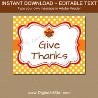 Printable Thanksgiving Sign - 8x10 Thanksgiving Sign - EDITABLE Thanksgiving Printable Sign - Fall Printable - Instant Download Sign T4