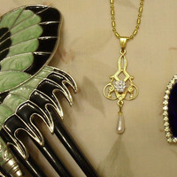 TITANIC - Rose's Flying Dress Edwardian Necklace Pendant with Butterfly Comb - Jewelry Collection