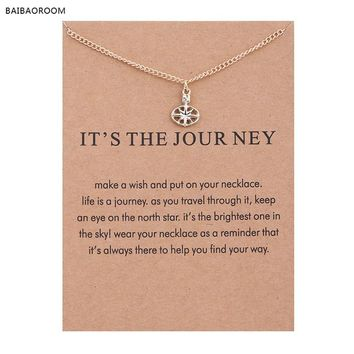 New gold-color  It Is The Journey Travel Compass Alloy Clavicle Bones Pendant Short Necklace