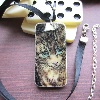 Cat Stamped Domino Necklace, Domino Pendant, Upcycled Necklace, Animal Necklace, Animal Jewellery, Cute Necklace, Cute Pendant, Handmade