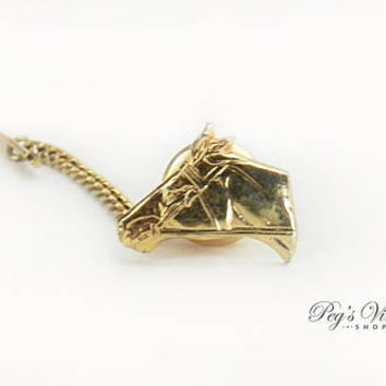 Vintage Men's Tie Tack Pin Jewelry,  Gold Tone Horse Head Pin