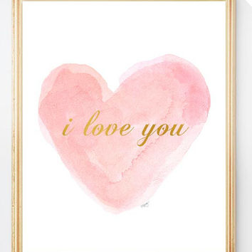 Pink and Gold Nursery Art, 8x10 Watercolor Heart, Blush and Gold Nursery Decor,Baby Girl Gift, Shabby Nursery, Shower Gift,Newborn Girl Gift