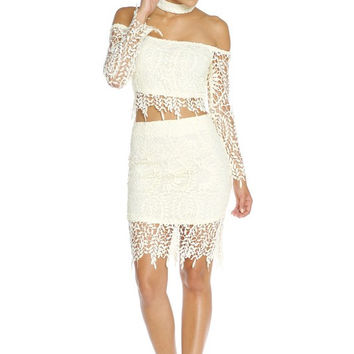 Leaves Lace Two-Piece Dress - White