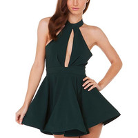 Green Halter A-Line Cutout Chiffon Skater Dress