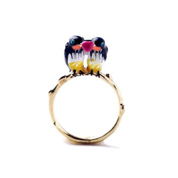 Keep On Shining Ring With Ainmal Swallows Gold Color Enamel For Women Friendship Exquisite Cute Girls