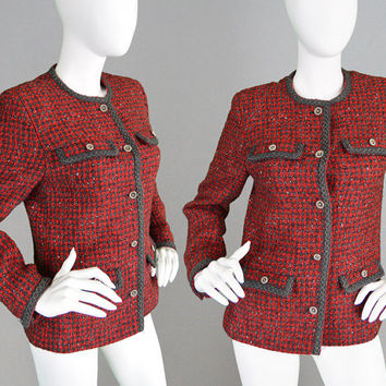 Vintage 80s Pure Wool Jacket Wool Boucle Jacket Boxy Jacket Womens Tweed Jacket Cardigan Jacket Lampert of London Wool Blazer Women Classic