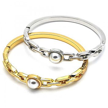 Gold Layered Individual Bangle, with Pearl, Golden Tone