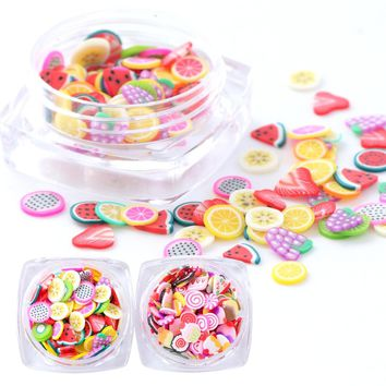 1pcs Colorful Fruit 3D Nail Charms Flakes Lovely Ice Cream Sushi Clay Tiny Fimo Slices Sequins Polymer Decoration Tips BE082