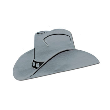 Foil Cowboy Hat Silhouette Silver- Pack of 24