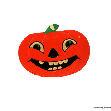 1930s Beistle's / Luhrs Halloween Jack-O-Lantern Die Cut Decoration, Large Size
