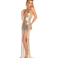 Mac Duggal 2013 Prom Dresses - Strapless Nude & Gold Sequin Gown