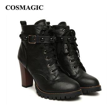 2017 new winter women black high heel martin boots buckle gothic punk ankle motorcycle  number 1