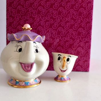 Cartoon Beauty And The Beast Teapot Mug Mrs Potts Chip Tea Pot Cup 2PCS One Set for Friend Gift