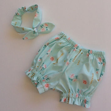 Baby diaper cover mint, girl bloomers and headband, Michael Miller fabric, mint gift set, size nb 3 6 12 18 24 mths, baby gift set