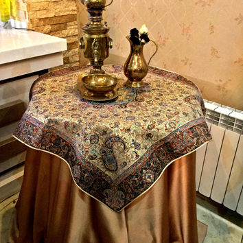 Gold Tablecloth, Persian Art Silk Tapestry Woven Termeh, Table Runner, Persian Handicrafts