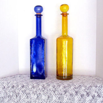 Tall Deoorative Glass Bottles Made In Spain Yellow And Cobalt Blue Vintage Collectible Gift Item 2308