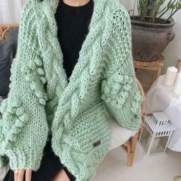 New women's wind hand-knitted loose knit cardigan coat