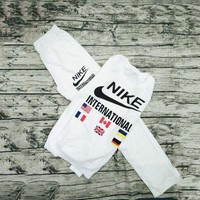 PEAPUF3 NIKE' Print Round Neck Pullover Top Sweater Pants Sweatpants Set Two-Piece Sportswear G