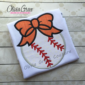 Baseball Shirt, Girls Baseball with Bow Embroidered Applique Shirt or Bodysuit