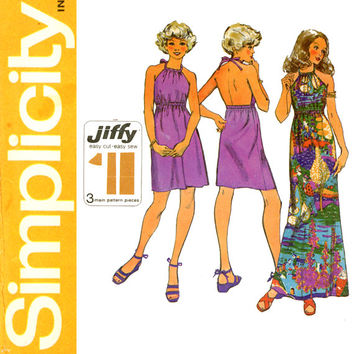 1970s Halter Dress Pattern Bust 36 Simplicity 9927 Jiffy Mini or Maxi Boho Sundress for Day or Evening Womens Vintage Sewing Patterns