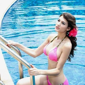 Fabulous Bikini Set in Pink with Green Ties-SY-40402 from LingerieGate