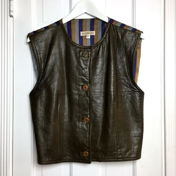 Authentic vintage 80s leather and silk women's vest sz 8