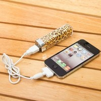 Leopard Pattern 2500mah Power Charger Battery Bank for Iphone 4/4s and Camera, Various Cell Phones and Digital Devices from 1Point99.com
