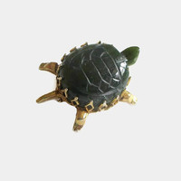 Turtle Pin, Vintage, Green Agate & Gold Tone Filigree Metal, Terrapin, Tortoise, Adorable! CIJ